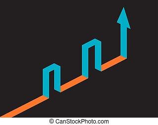 isometric, alvo, alcançar, ilustração, vetorial, através, seta, barriers.