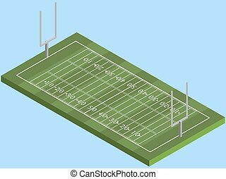 Isometric American football field in vector