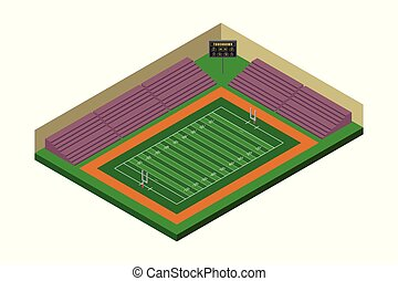 Isometric American Football Stadium Illustration