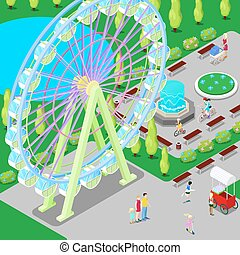 Isometric Amusement Park with Ferris Wheel and Children. Vector illustration
