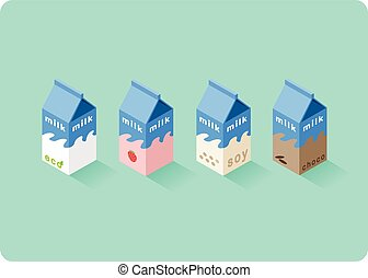 isometric, anders, illustratie, dozen, vector, aroma, melk