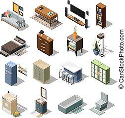 Isometric Apartment Furniture Set
