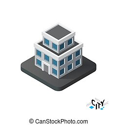 Isometric apartment house icon, building city infographic element, vector illustration