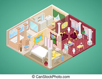 Isometric Apartment Interior in Classic Style with Kitchen, Living Room and Bathroom. Vector flat 3d illustration