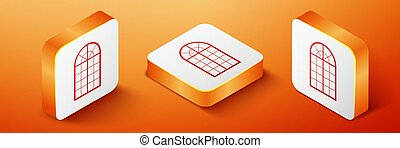 Isometric Arched window icon isolated on orange background. Orange square button. Vector