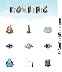 Isometric Architecture Set Of Dc Memorial, Turning Road, Garden Decor And Other Vector Objects. Also Includes Turn, Monument, Fountain Elements.