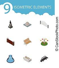 isometric, architektura, komplet, od, ogród, dekoracje, kwiat, ozdoba, rośliny, i, inny, wektor, objects., również, zawiera, statua, most, cegła, elements.