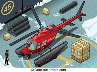 Isometric Arctic Emergency Helicopter in Front View