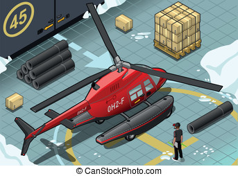 Isometric Arctic Emergency Helicopter in Rear View