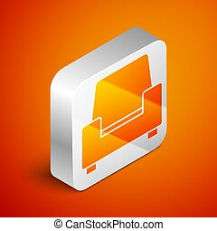 Isometric Armchair icon isolated on orange background. Silver square button. Vector
