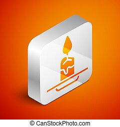 Isometric Aroma candle icon isolated on orange background. Silver square button. Vector
