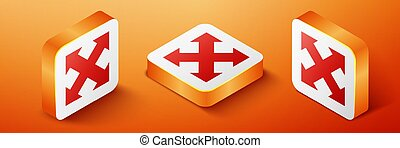 Isometric Arrows in four directions icon isolated on orange background. Orange square button. Vector