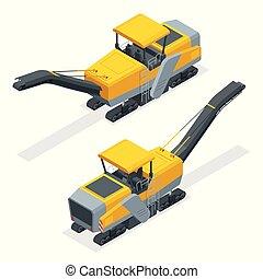 isometric, asfalto, área, processo, removendo, estrada, moendo, superfície, ou, aplanar, pavimento, parte, lot., estacionamento, tal, gelado, profiling., ponte, pavimentado