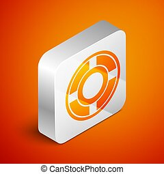 Isometric Ashtray icon isolated on orange background. Silver square button. Vector Illustration