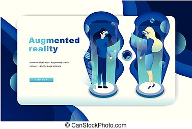 Isometric augmented virtual reality concept. Website Template.