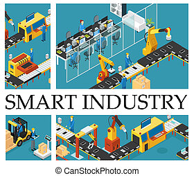 Isometric Automated Factory Composition