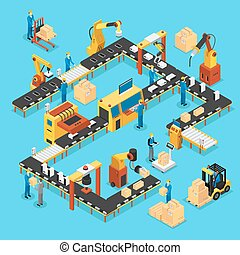Isometric Automated Production Line Concept - Isometric...