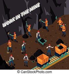 isometric, bányász, zenemű, emberek