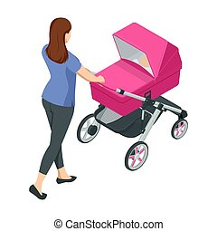 Isometric baby carriage isolated on a white background. Kids transport. Strollers for baby boys or baby girls. Woman with baby stroller walks. Theme of motherhood and fatherhood.