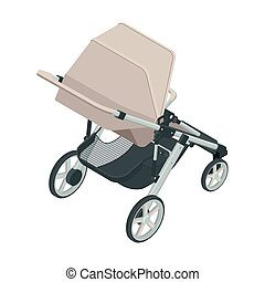 Isometric baby carriage isolated on a white background. Kids transport. Strollers for baby boys or baby girls.
