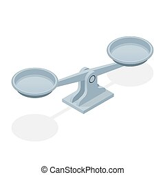 Isometric balance scales isolated on white background. Symbol of law and justice.