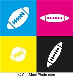 isometric, ball., prosty, piłka nożna, żółty, amerykanka, magenta, czarnoskóry, rzuty, vector., backgrounds., biały, cyan, ikona
