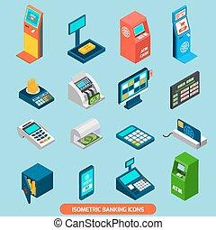 Isometric Banking Icons Set