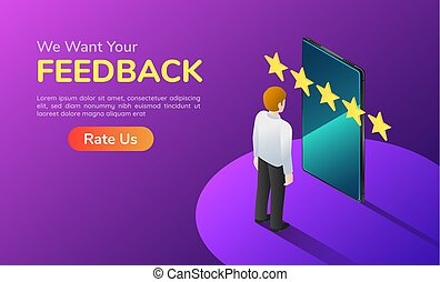 Isometric banner businessman with phone and five star feedback