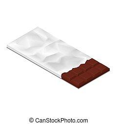isometric, bar, melk, illustratie, chocolade, folie, vector, wrapper.