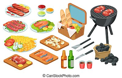 Isometric barbecue food, bbq grill meat, vector illustration set, grilled beef, fish steak on picnic party, 3d icons isolated on white