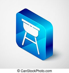 Isometric Barbecue grill icon isolated on grey background. BBQ grill party. Blue square button. Vector Illustration