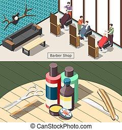 isometric, barbershop, bandeiras