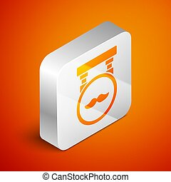 Isometric Barbershop icon isolated on orange background. Hairdresser logo or signboard. Silver square button. Vector Illustration