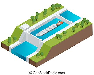 Isometric Barge on a River. Very large ship. Containerized trade, liquid bulk and dry bulk shipping. International shipping.