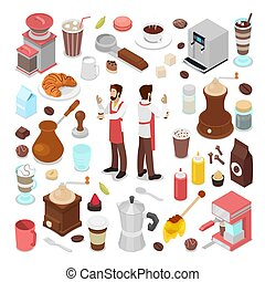 Isometric Bartender and Coffee Cafe Elements Collection. Vector illustration