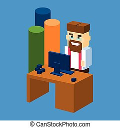 isometric, barzinhos, escritório negócio, mapa, desktop, local trabalho, homem, 3d