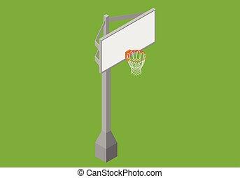 isometric, basquetebol, vetorial, apartamento, backboard