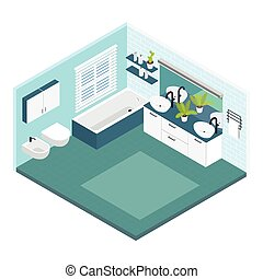 Isometric Bathroom Composition