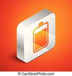 Isometric Battery icon isolated on orange background. Silver square button. Vector Illustration