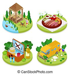 Isometric BBQ Picnic Party. Summer Holiday Camp. People in Park with Grilled Meat. Vector flat 3d illustration