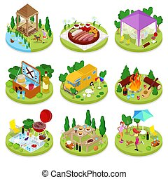Isometric BBQ Picnic. Summer Holiday Camp. People in Park with Grilled Meat. Vector flat 3d illustration