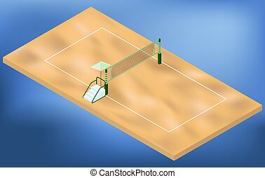 Isometric beach volleyball playground with net, sand, and judges place