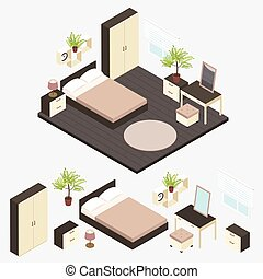 Isometric Bedroom Interior Composition
