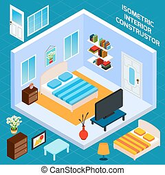 Isometric Bedroom Interior - Isometric bedroom blue walls...