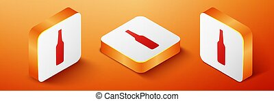 Isometric Beer bottle icon isolated on orange background. Orange square button. Vector