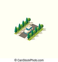 Isometric beige vehicle SUV - Stock vector isolated...