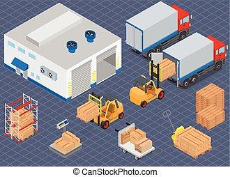 isometric, berakodás, cargo., illustration., lépés, equipment., forklifts, vektor, csereüzlet, warehouse., raktárépület, vagy, kirakodás