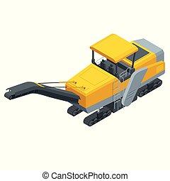 isometric, bestrating, frezen, koude, het plannen, asfalt, frezen, of, profiling., proces, van, het verwijderen, onderdeel van, de, oppervlakte, van, een, bedekte, gebied, zulk, als, een, straat, brug, of, parkeren, lot.