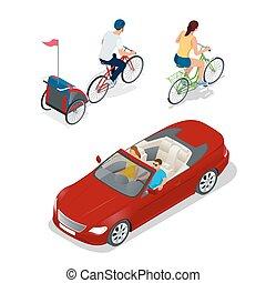 isometric, bicikli, noha, gyerekek, bicikli, trailer., kabrió, autó., szállít, helyett, nyár, travel.