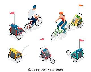 isometric, bicikli, noha, gyerekek, bicikli, trailer.